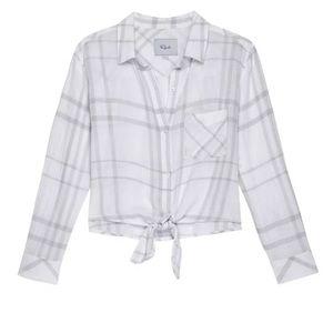 Rails Linen Blend Val Plaid Tie Front Shirt Top XS
